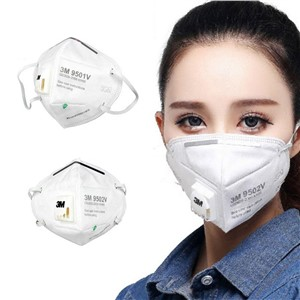 3M Respirator Mask 9502V KN95 N95 Disposable Face Mouth Mask Adjustable Headgear Full Face Protection Breathing Dust