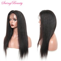 100% Natural Virgin RemyHair with Hand Made Full Lace Wig Yaki Straight Hair
