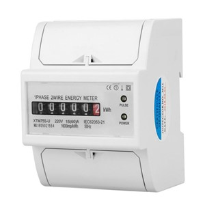 220V Digital 1-Phase 2 Wire 4P DIN-Rail Electric Meter Electronic KWh Meter 5(30)A 15(60)A 20(80)A Optional XTM75S-U Wit