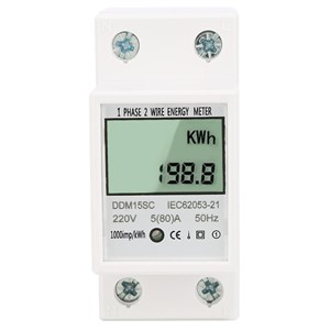 DDM15SC Digital Energy Meter 5-80A LCD Digital Display Single Phase DIN-Rail Electronic Energy KWh Meter