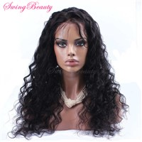 Hand Made Lace Wig 100% Natural Human Hair Water Wave Curly Hairs