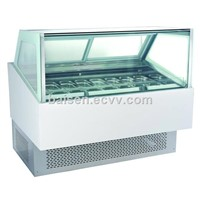 Square Glass White Marble Base Ice Cream Display Freezer/Ice Cream Dipping Freezer Cabinet