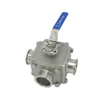 DIN Stainless Steel Sanitary Square Ball Valves with Ferrule Ends
