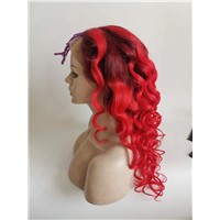 Ombre Red Color Handtie Full Lace Wigs 100% Natural Virgin Remy Hair