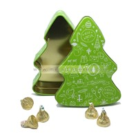 Wholesale Christmas Tree Tin Decorative Christmas Gift Xmas Tree Tins