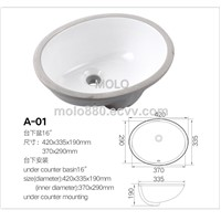 Round under Counter Basin Ceramic Wash Basin Bathroom Sink Sanitary Ware
