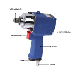 KP-500 Industrial Pneumatic Impact Wrench Air Socket Wrench Tool 9000rpm