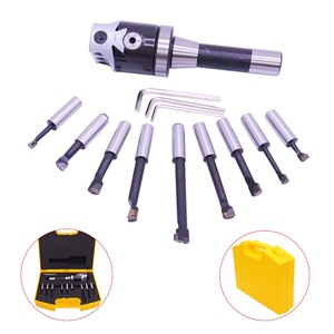 "R8-F1-1/2""-9pcs Boring Bar Head Tool Carbide Boring Handle Set for Milling Machine"