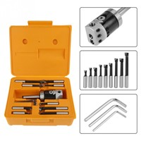 "MT3-F1-1 / 2 ""-9pcs Morse MT3 Handle F1 Boring Head Tool Set Carbide Boring Bar with Shank Mill"
