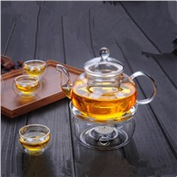 600ml High Borosilicate Glass Material Teapot Home Office Hotel Handmade Glass Teapot Cup Set