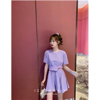 Purple Heben Wind Suit Half-Length Trousers Skirt Women 2020 New Small Summer Air Light Ripe Wind Two Sets