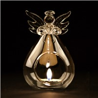 Transparent Glass Angel Candle Holder Hanging Glass Terrarium Vase Christmas Day Decoration China Factory