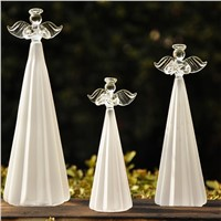 New Style Frosty White Glass Angel Home Decoration Beautiful Glass Angel Friend Gift