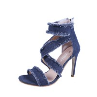 Sexy Denim Sandals with Cross Hollowing Style