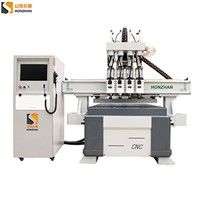Honzhan New HZ-R1325F Four Heads Pneumatic Woodworking CNC Router Cutting Machine for Wood Panel, Door, Furniture