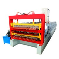 Three Layer Tile Making Manufacturer, Colored Steel Roof Tile Making Machine Metal Roofing Rolling Machine