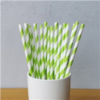 Green & White Big Striped Drinking Paper Straws