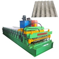 Double Layers Metal Color Steel Tile Making Machine Corrugated & Trapezoid Roofing Tile Roll Forming Machine.