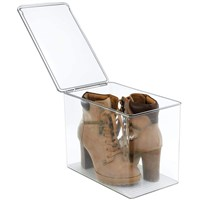 Luxury Customized Clear Acrylic Drop Front Shoe Box Display Shipping Quickly