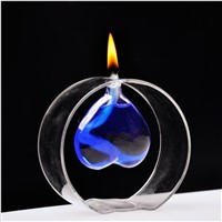Round Shaped Glass Oil Lamp with Heart Inner Oil Holder Decorative Table Lamp Glassware