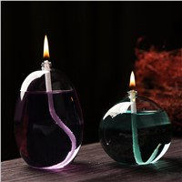 Round Shaped Glass Oil Lamp Oval Shaped Table Lamp Home Decoration Handcraft Glass Gift