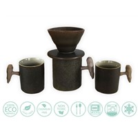 Globe Faith Eco-Friendly Ceramic Clever Pour over Coffee Maker Drip & Coffee Cup Set,