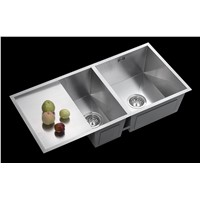 201 & 304 Stainless Steel Raw Material Double Bowl above Counter Polish without Faucet Hole Lay One Edge Bulk Package