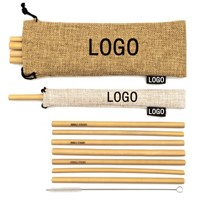 Eco Friendly 100% Biodegradable Bamboo Straw Custom Logo Bamboo Drinking Straw with Cleaning Brush
