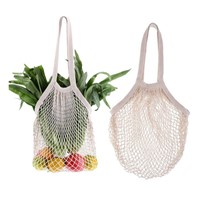 Zero Waste 100% Biodegradable Cotton Shopping Mesh Bag Custom Logo Multiple Use Fruit&Vegetable Bag