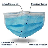 3ply Adult Use Protective Mouth Cover Earloop 17*9.5cm