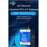 Dual-SIM Cellular IoT RTU (8DIN, 6AIN/PT100,4Relay, 1TH, USB, 2 RS485,320 Extend I/O Tags)S475