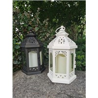 Hexagon, Hollow Design Metal Lantern with Candle
