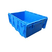 600*400*240mm PP Material Stackable & Nestable Industrial Storage Plastic Moving Crate with Lid