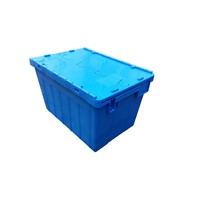 600*400*355mm 60L Virgin PP Nesting Storage Attached Lid Tote Plastic Turnover Crate