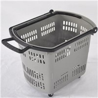 Rolling Plastic Shopping Basket for Supermarket