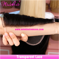 Mink Brazilian Human Hair Closure Virgin Hair Lace Closure Transparent Lace with Pre-Plucked