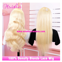 Mink Brazilian Hair 10A Human Hair Blonde Wig 180% Density Transparent Lace Front Wig