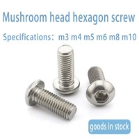 Iso7380 10.9 Nickel Plated Mushroom Head / Half Round Head Hexagon Socket Screw M1.6-M8