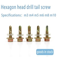Manufacturer Direct Sale Hexagon Head Drill Tail Screw Wholesale Hexagon Head Self Drilling Customized Drilling Tail Scr