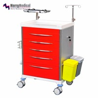 Metal Medical Crash Cart on Wheels & Accessories