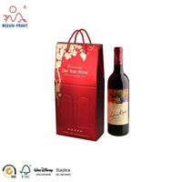 High Grade Single Bottle Wine Gift Paper Bag with Rope Handle