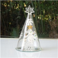 7*12cm Spun Glass Christmas Tree Table Decorations Mall Holiday Party Window Props