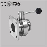 Hygienic Stainless Steel Food Grade Sanitary Manual Flange Butterfly Valve