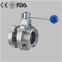 Hygienic Manual Nut/Male Sanitary Butterfly Valve Stainless Steel
