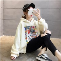 2020 New Printing Plus Cashmere Thick Hoodie Women's Sweater Loose Korean Edition