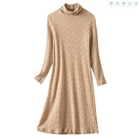 2020 New Women's High-Neck Knitted Bottoming Dress Autumn & Winter Solid Color Long-Sleeved MID-Length Skirt