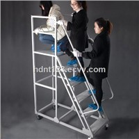 Movable Steel Safety Warehouse Rolling Ladder
