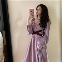Sweet Taro Purple High Waist Gentle Fairy Tale Wind French Purple Medium Long Dress