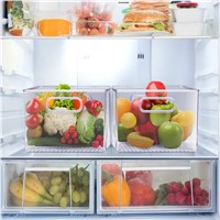 Plastic Clear Storage Bins Pantry Organizer Box Bin Containers for Organizing Kitchen Fridge, Food, Snack Pantry Cabinet