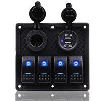 Waterproof 4 Gang Rocker Switch Panel +Double USB Power Charger Adapter + 12V Cigarette Lighter Socket for Marine Boat C